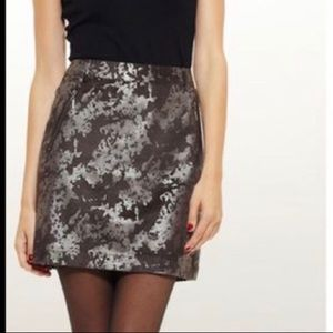 Vivienne Tam Metallic Faux Suede Skirt. Size 8.